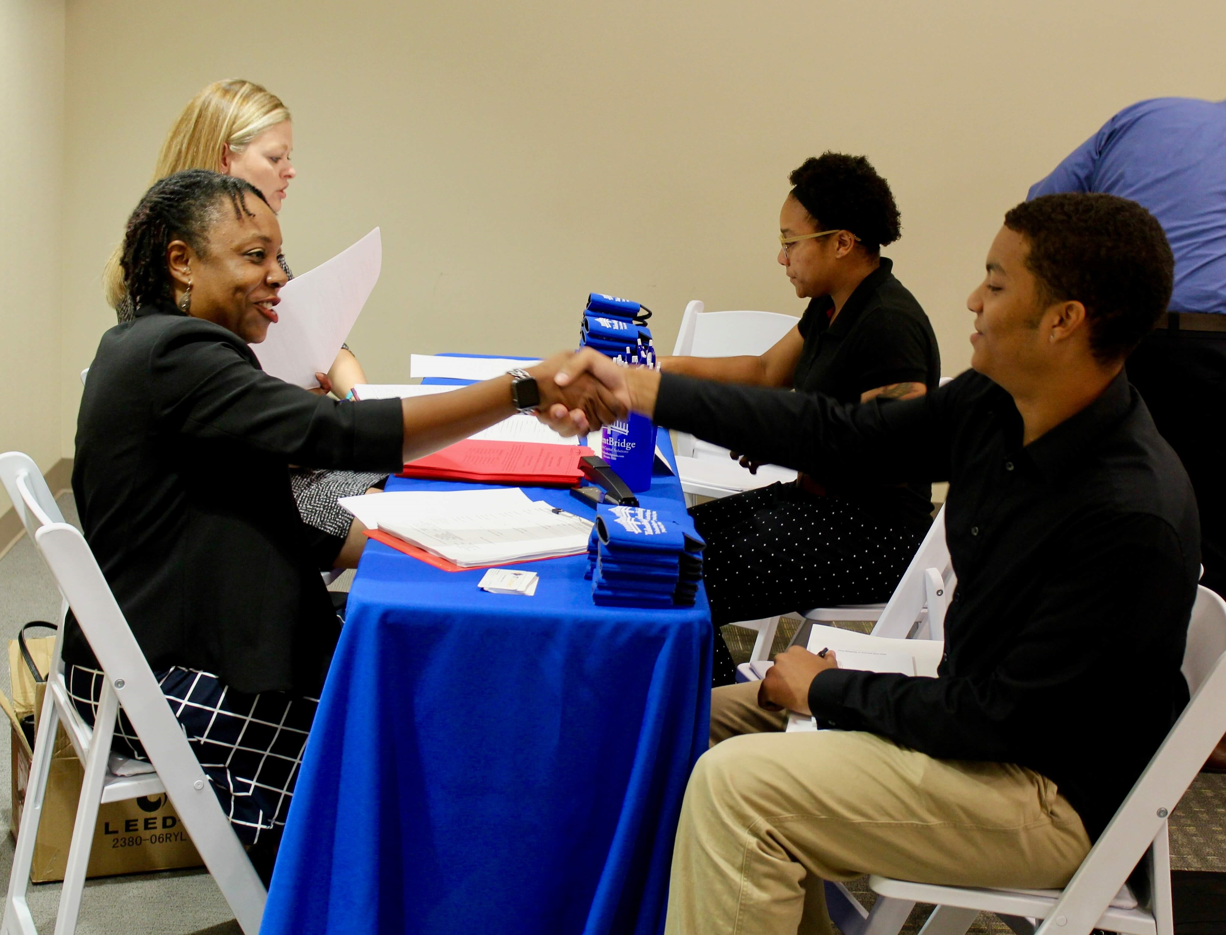 Grads meeting with employers